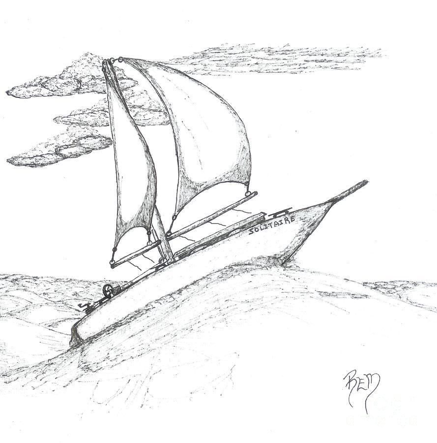 Sea Drawing - Solitude - Sketch by Robert Meszaros