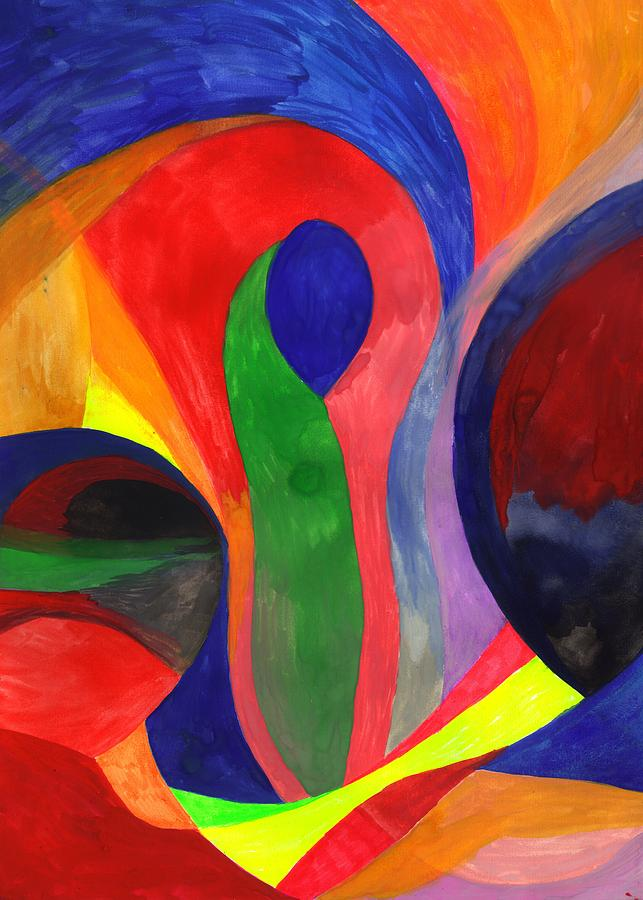 Colorful Painting - Solitude in the Crowd by Peter Shor