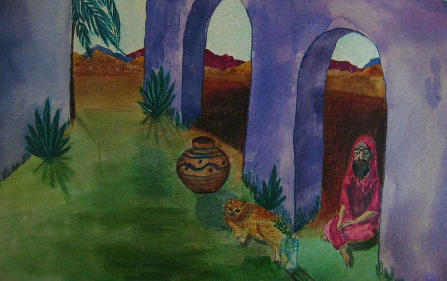Holy Man Painting - Solitude In The Desert by Judy Via-Wolff