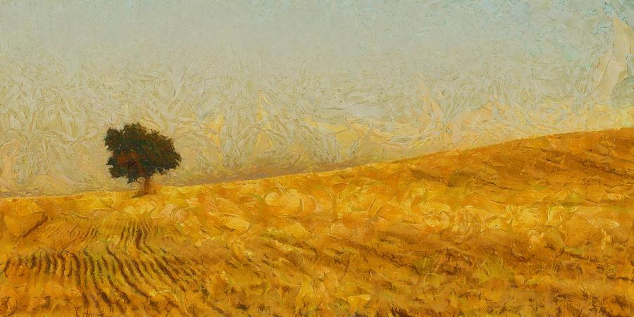 Gold Painting - Solitude Is Golden by Aaron Stokes