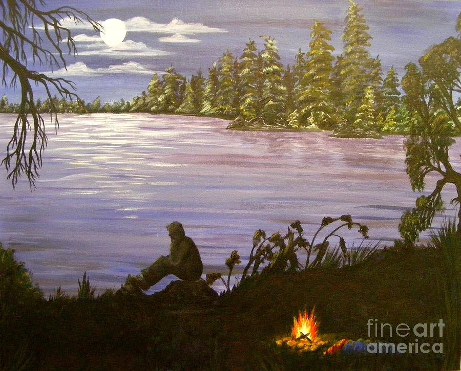 Lake Painting - Solitude by Lisa Golem