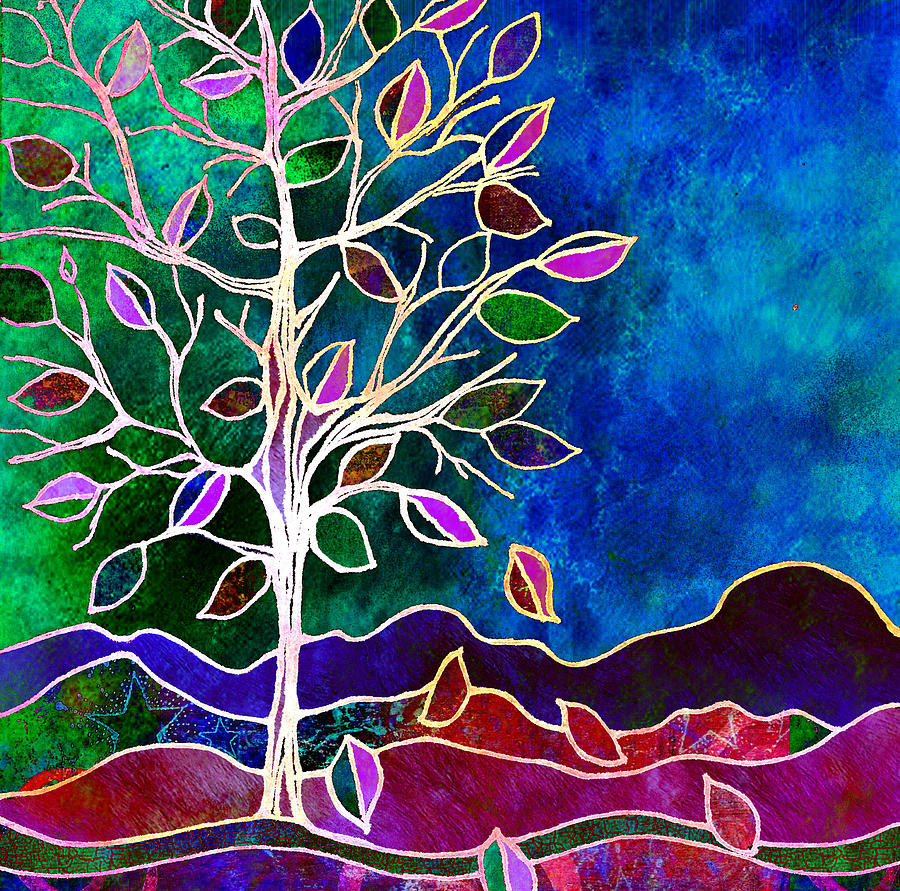 Tree Leaves Painting - Solstice Evening by Robin Mead