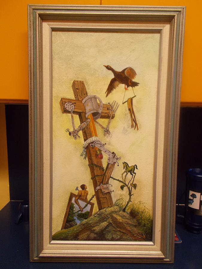 Cross Painting - Some Prayers Dont Reach The Sky by Carlos Rodriguez Yorde