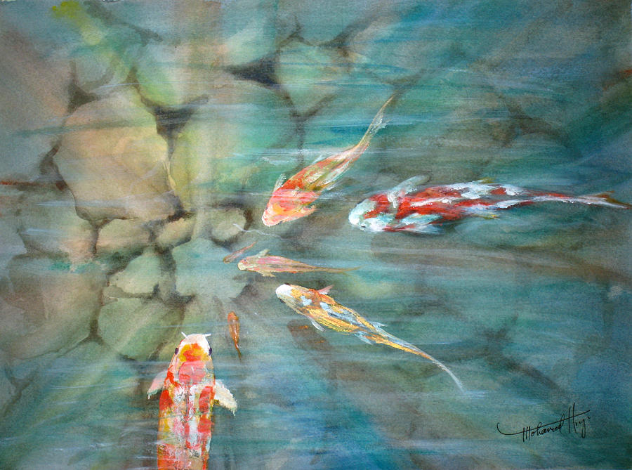 Fish Painting - Something Fishy by Mohamed Hirji