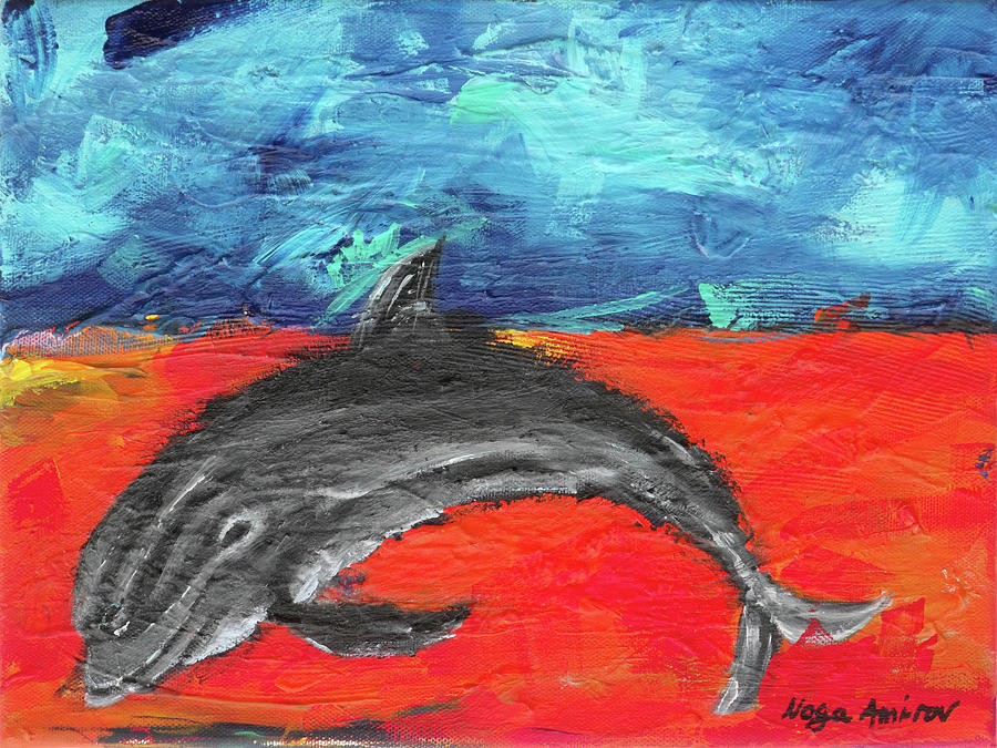 Dolphin Painting - Something Good by Noga Ami-rav