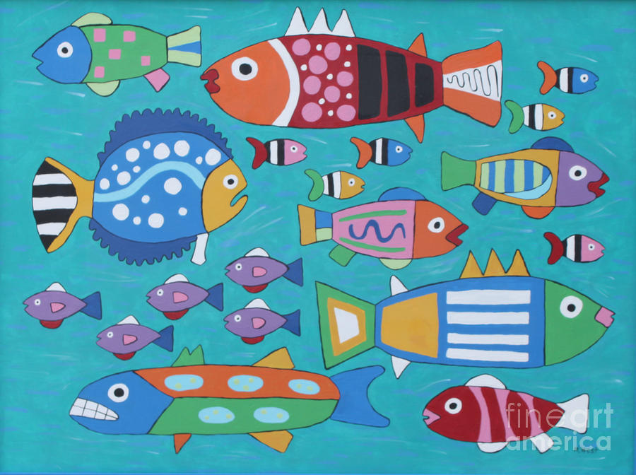Turquoise Painting - Somethings Fishy by Marilyn West