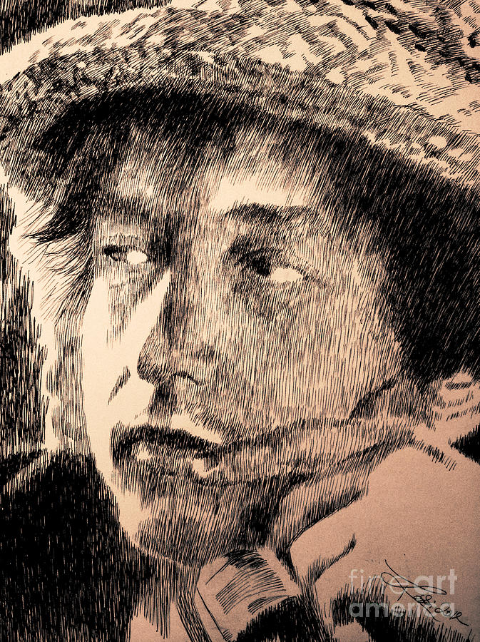 Bob Dylan Drawing - Song And Dance Man by Robbi  Musser