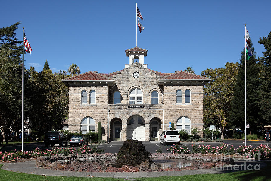 Sonoma Photograph - Sonoma City Hall - Downtown Sonoma California - 5d19260 by Wingsdomain Art and Photography