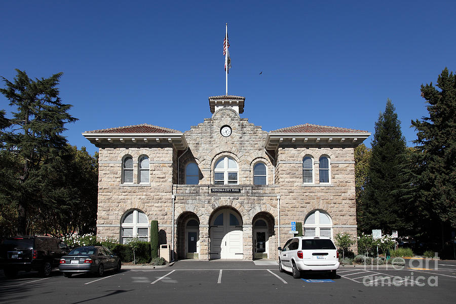 Sonoma Photograph - Sonoma City Hall - Downtown Sonoma California - 5d19265 by Wingsdomain Art and Photography