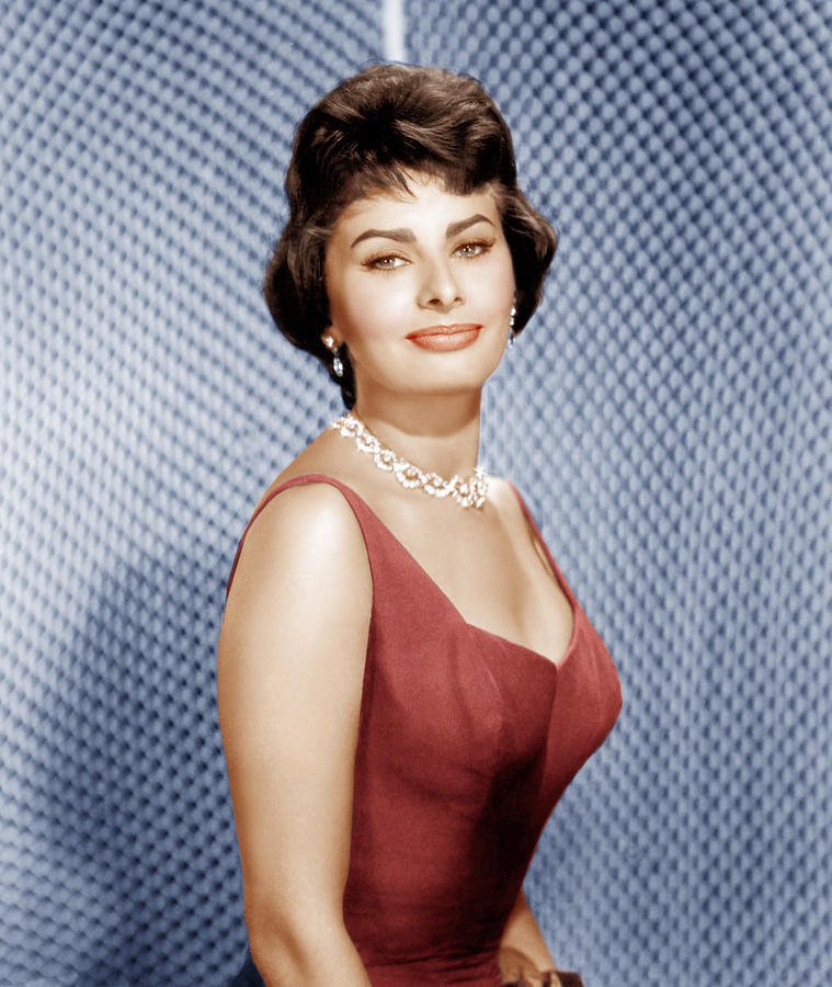 1950s Hairstyles Photograph - Sophia Loren, Ca. 1950s by Everett