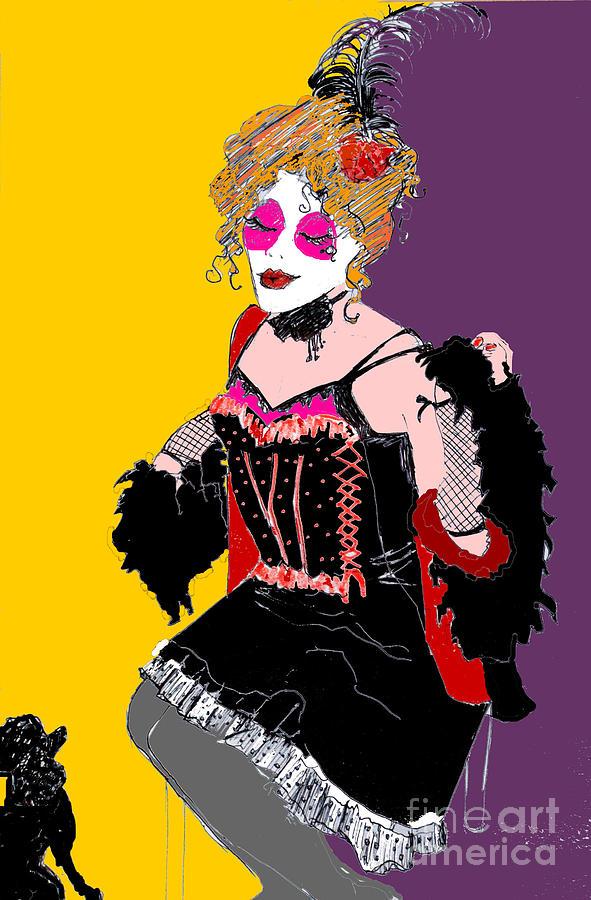 Moulin Rouge Digital Art - Sophiea And Lu Lu 2 by Joanne Claxton