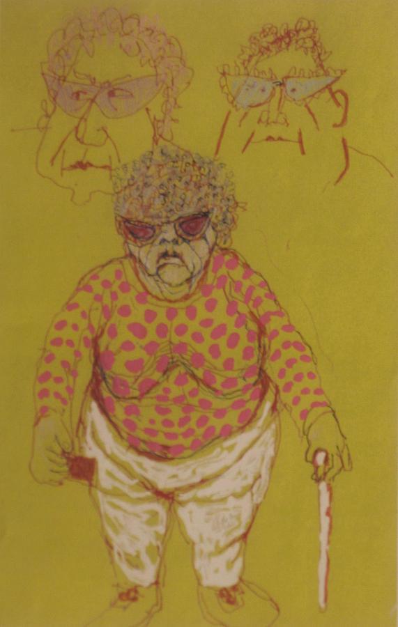 Elderly Drawing - South Jbeach Retiree by Walter Clark