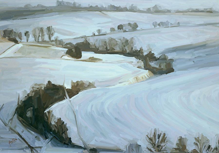 Nederland Painting - South Limburg Covered With Snow by Nop Briex