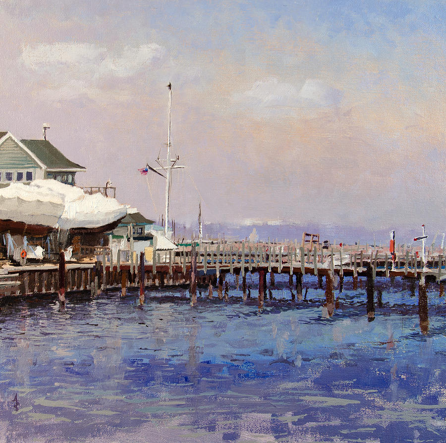 Boats Painting - South Shore Marina by Anthony Sell