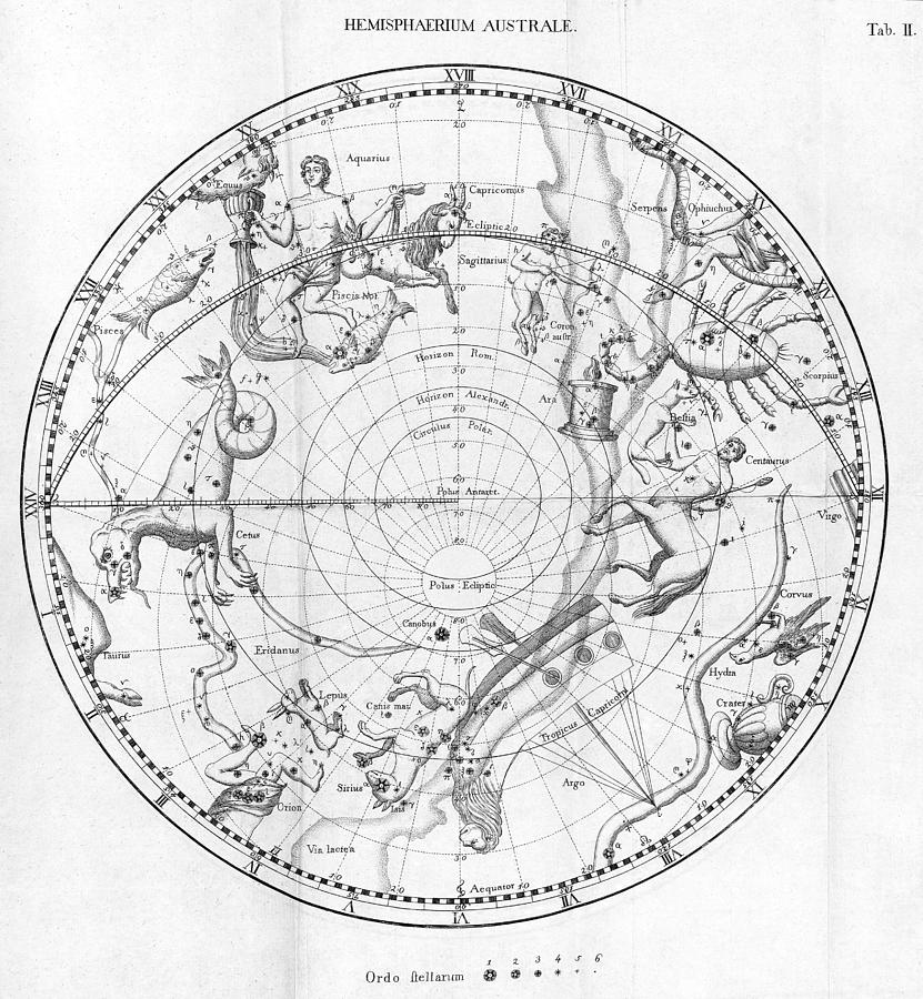 Star Photograph - Southern Celestial Map by Science, Industry & Business Librarynew York Public Library