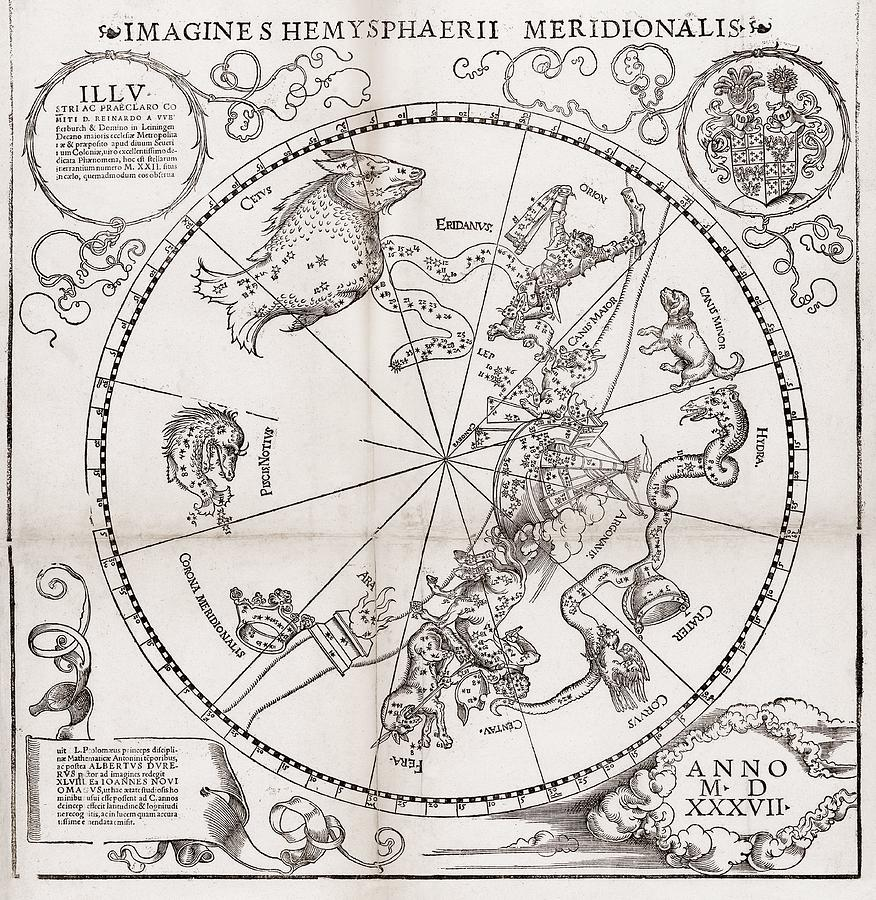 Human Photograph - Southern Hemisphere Star Chart, 1537 by Middle Temple Library