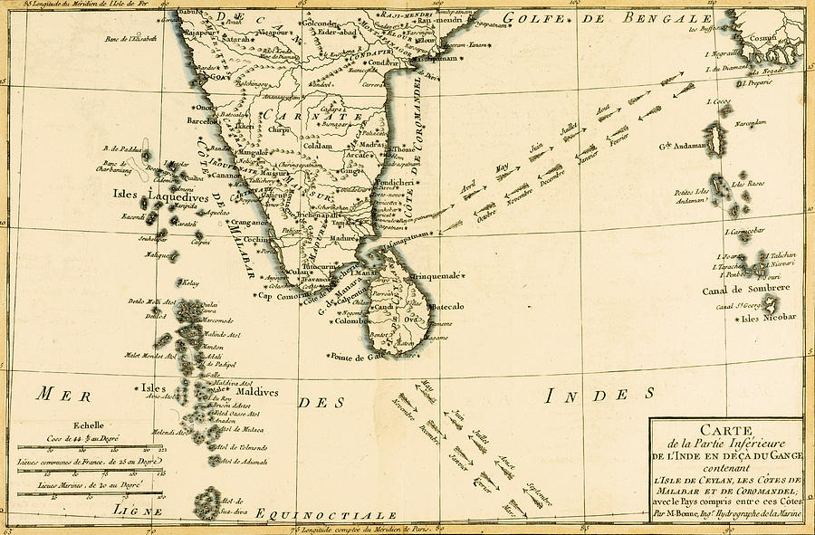 Maps Drawing - Southern India And Ceylon by Guillaume Raynal
