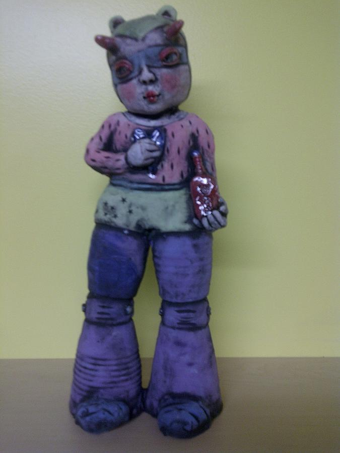 Space Girl With Tincture Bottle Sculpture by Kathleen Raven
