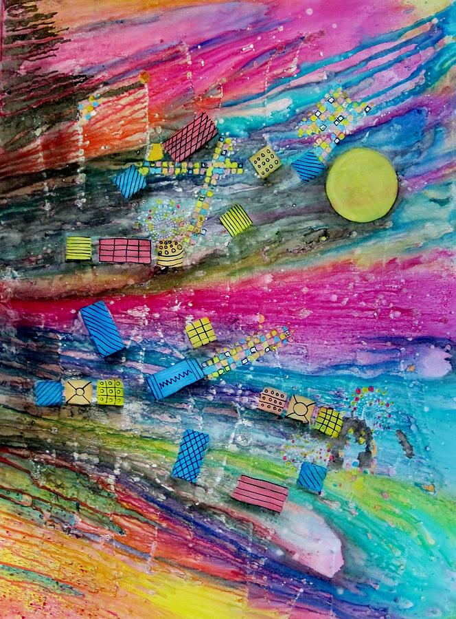Outer Space Painting - Space Junk by David Raderstorf