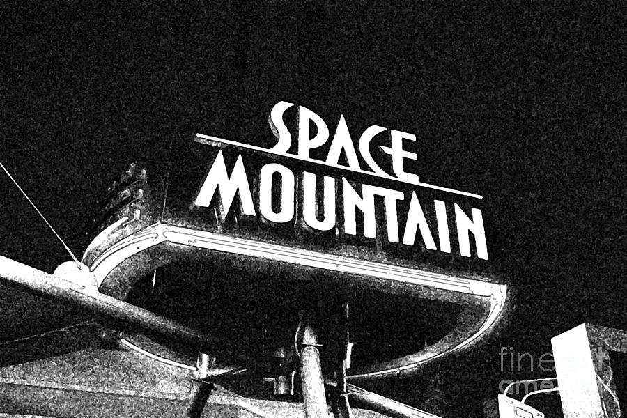 Space mountain digital art space mountain sign magic kingdom walt disney world prints black and