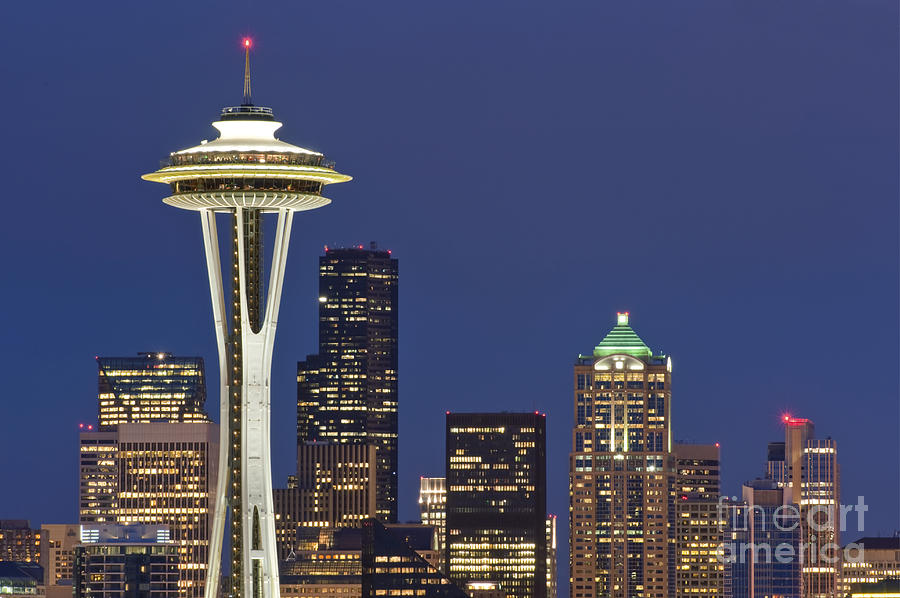 Architectural Detail Photograph - Space Needle And Downtown Seattle Skyline by Rob Tilley