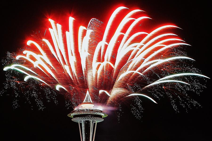 Seattle Photograph - Space Needle Fireworks by Benjamin Yeager