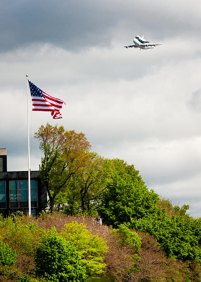 Space Shuttle Photograph - Space Shuttle Enterprise With Us Flag by Anthony S Torres