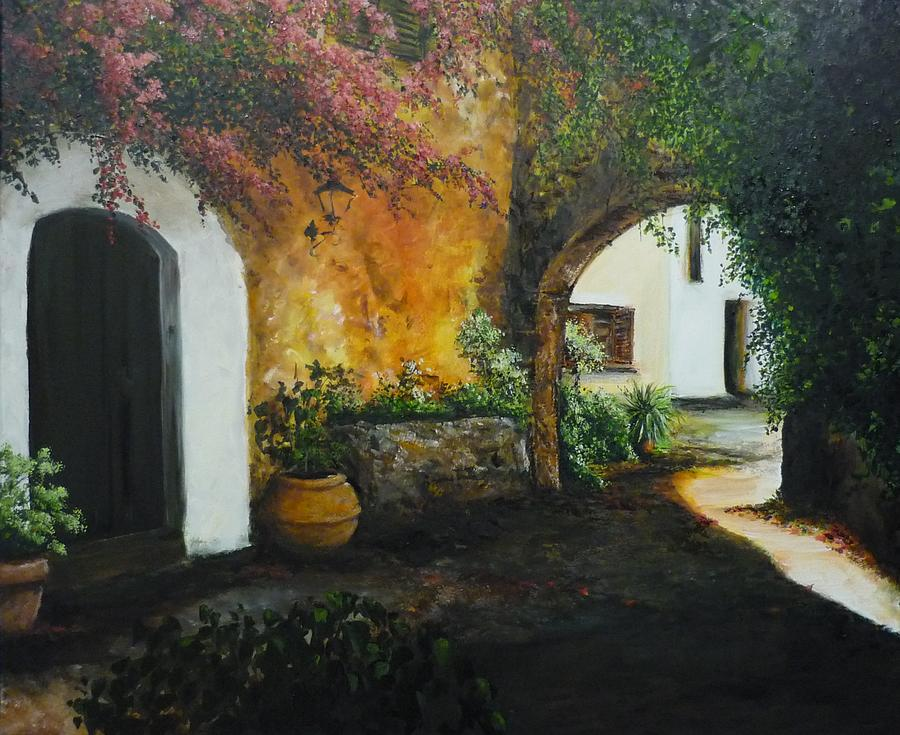 Archway Painting   Spanish Patio By Lizzy Forrester