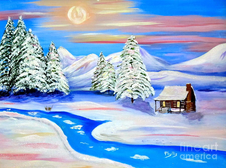 Pine Trees Painting - Sparkling Winter by Phyllis Kaltenbach
