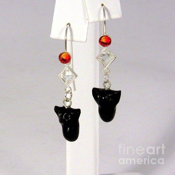 Opal Jewelry - Sparkly Black Kitten Earrings In Fire Opal by Pet Serrano