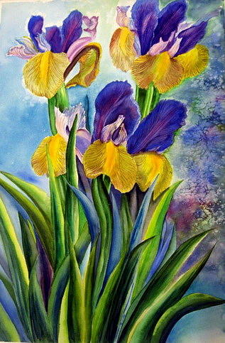 Nature Painting - In Memory Of My Father - Three Blue And Yellow Irises by Therese AbouNader