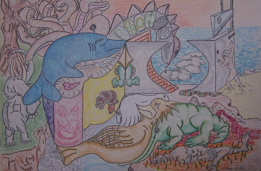 Elephant Drawing - Species We Are Time Is Our Fault by Timothy  Foley