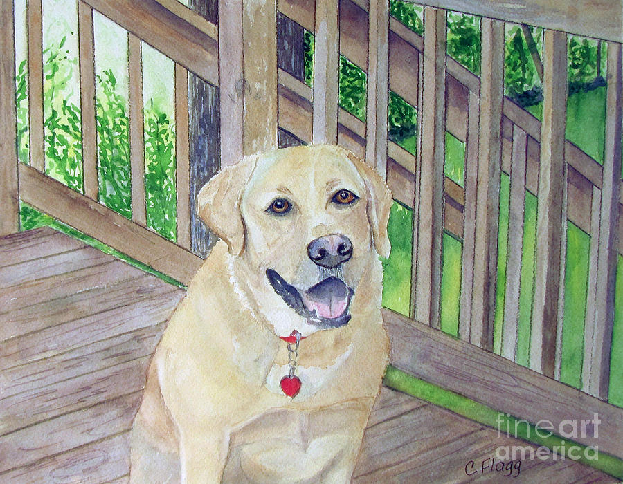 Dog Painting - Spencer On Porch by Carol Flagg