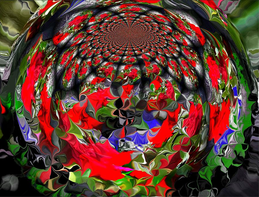 Mixed Media Digital Art - Spherical Bloom by Jan Steadman-Jackson