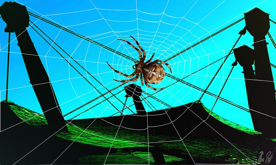Spider Digital Art - Spider On The Olympic Roof by Helmut Rottler