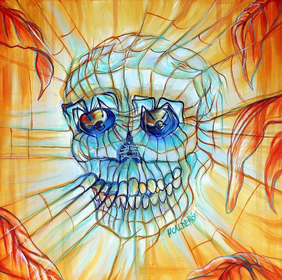 spider skull blue orange painting by heather calderon. Black Bedroom Furniture Sets. Home Design Ideas