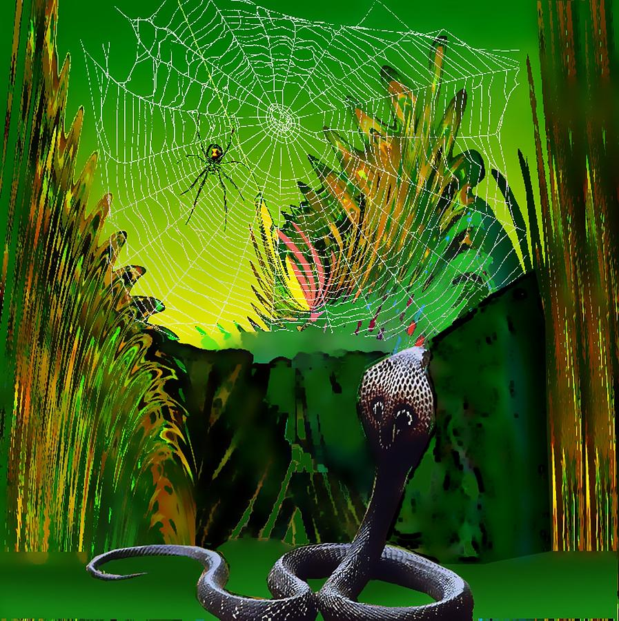 Spider Digital Art - Spiders And Snakes by Rod Saavedra-Ferrere