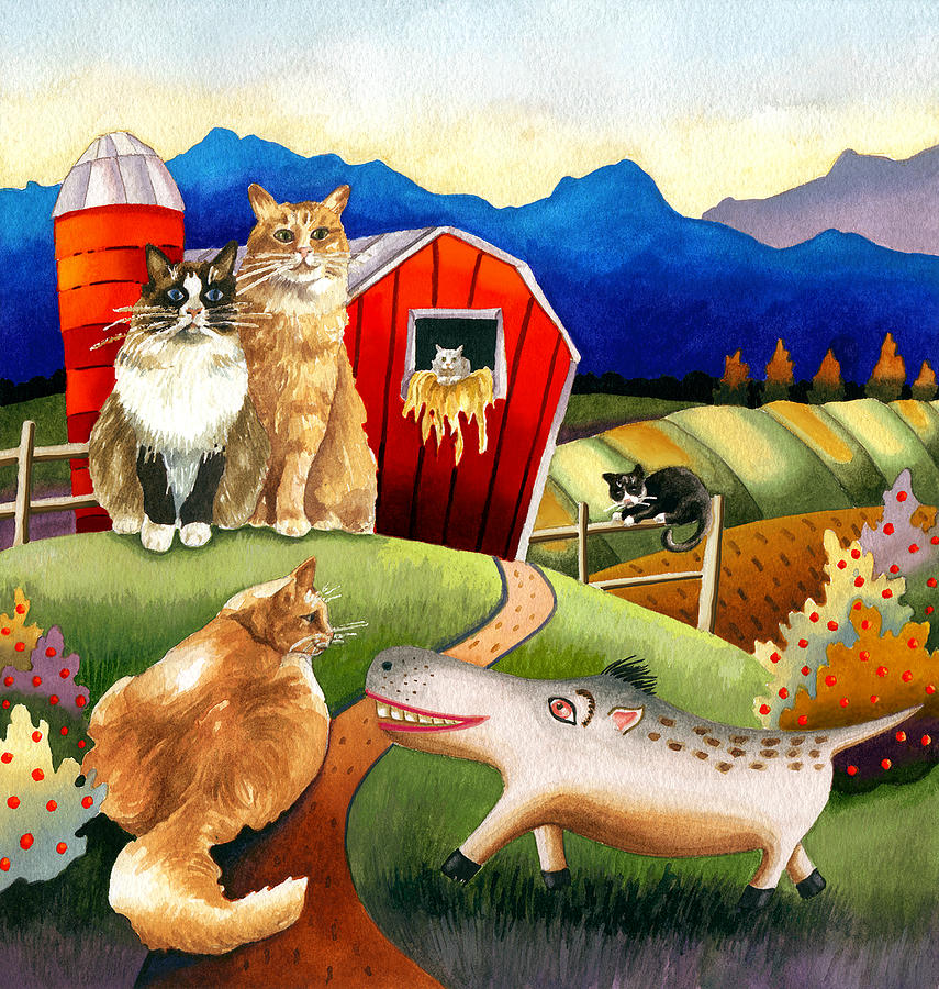 Storybook Illustration Painting - Spike The Dhog Meets Some Well Fed Barncats by Anne Gifford