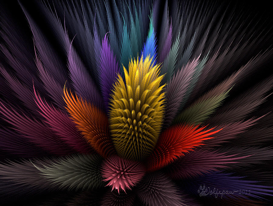 Abstract Digital Art - Spiky Botanical by Peggi Wolfe