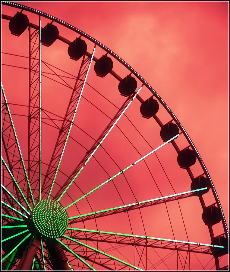 Ferris Wheels Photograph - Spinning Wheel  by Karen Wiles