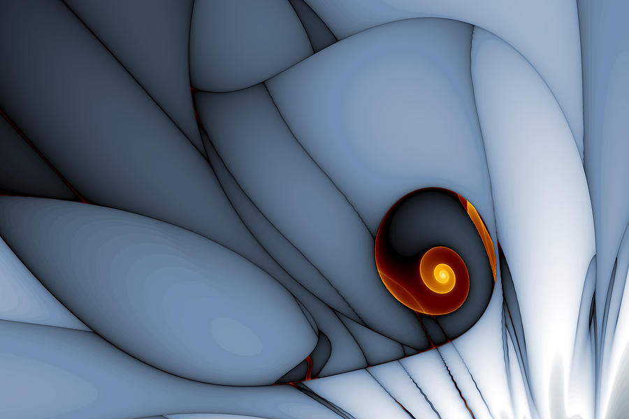Abstract Digital Art - Spiral And Wobbly Lines by Mark Eggleston