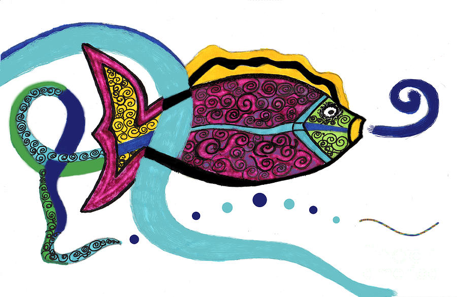Tropical Fish Drawing - Spiral Fish by Christine Perry