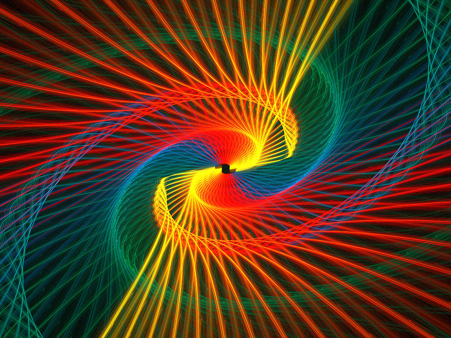 Abstract Digital Art - Spiral Rainbow  by Kim French
