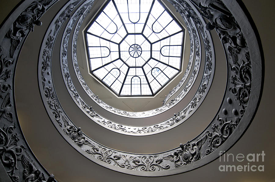Worth Photograph - Spiral Staircase In The Vatican Museums by Bernard Jaubert
