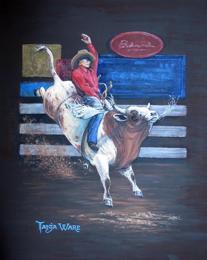 Bull Rider Painting - Spitting Bull  by Tanja Ware