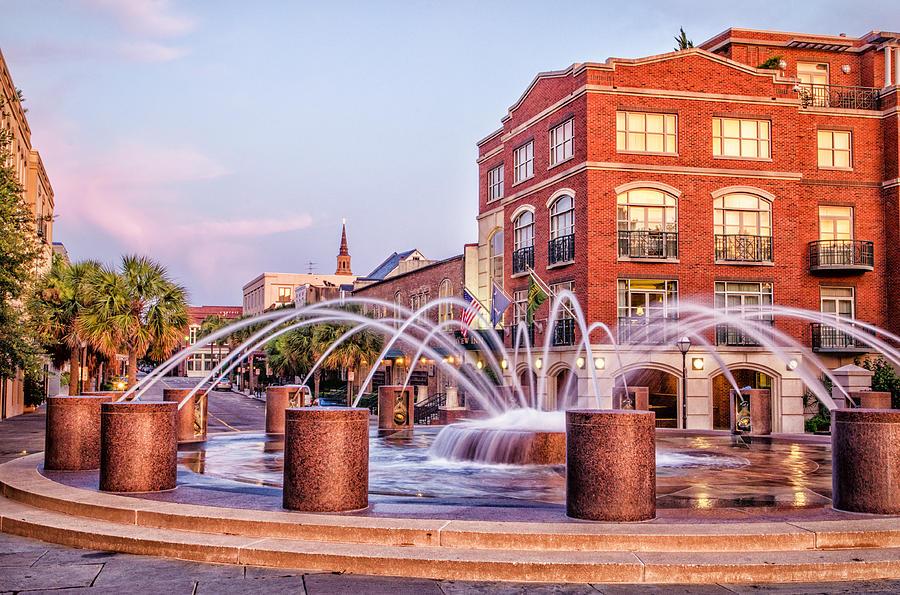 Charleston Photograph - Splash Fountain In Waterfront Park by Vanessa Kauffmann