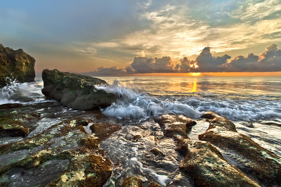 Blowing Rocks Photograph - Splash Sunrise by Debra and Dave Vanderlaan