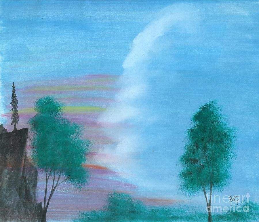 Landscape Painting - Split Sky by Robert Meszaros
