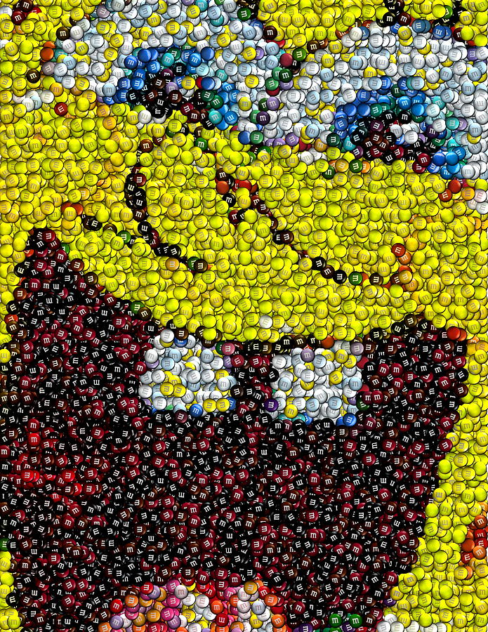 Spongebob Mms Candy Mosaic Drawing By Paul Van Scott