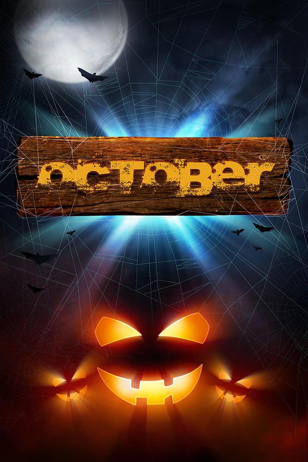 October Photograph - Spooky October by Bill Tiepelman